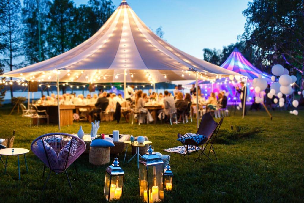 outdoor wedding under tent